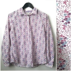 ⚡L.L. Bean cottagecore print button front shirt